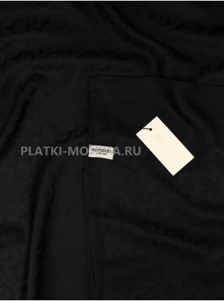 Платок Burberry шелковый черный однотонный 399-7