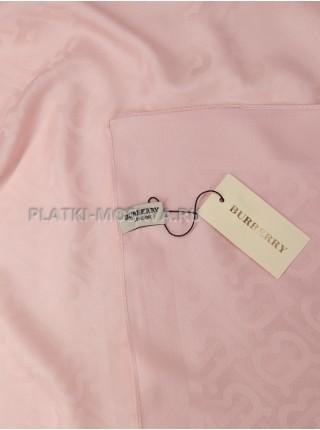 Платок Burberry шелковый розовый однотонный 399-10