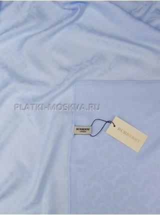 Платок Burberry шелковый голубой однотонный 399-2