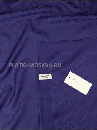 Платок Burberry шелковый темно-синий однотонный 399-5