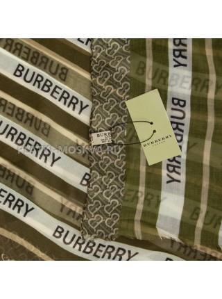 Палантин Burberry бежево-зеленый 4102