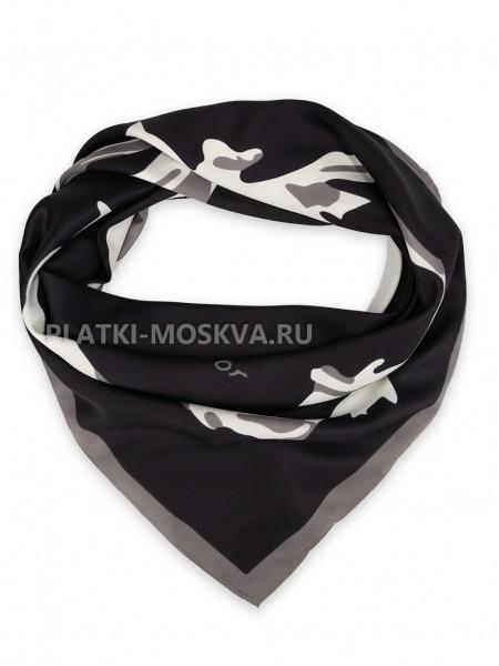 Платок Dior шелковый черный с белым двойной 3670