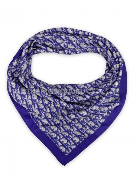 """Платок Dior шелковый синий """"Monogram"""" 3665"""
