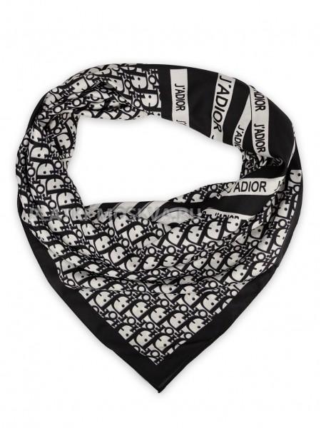 """Платок Dior шелковый черный с белым """"Jadior"""" 3662"""