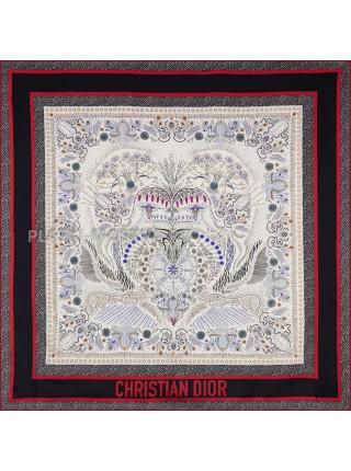 """Платок Dior шелковый белый с красным """"Узоры"""" 1891-90"""