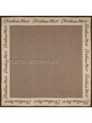 """Платок Dior шелковый бежевый с коричневым """"Гусиная лапка"""" 1890-90"""