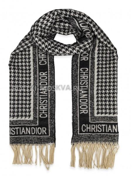 Палантин Dior кашемировый черный с белым 2601