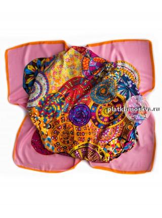 Платок Hermes шелковый розовый 620