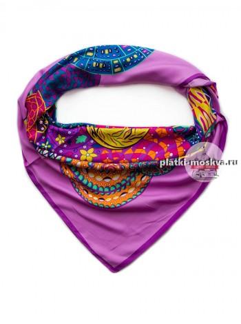Платок Hermes шелковый фиолетовый 623