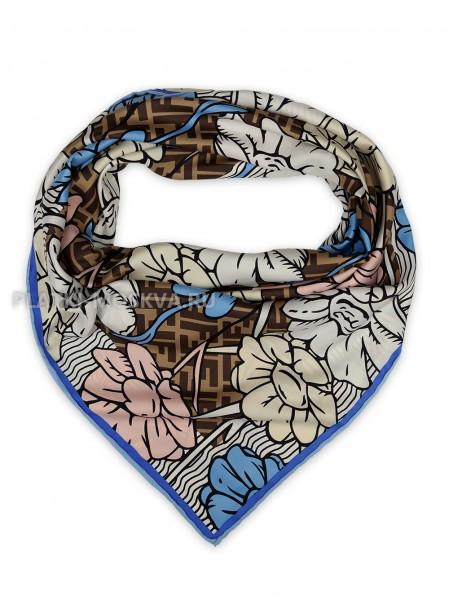 """Платок Fendi шелковый бежевый с синим """"Flower"""" 1863-90"""