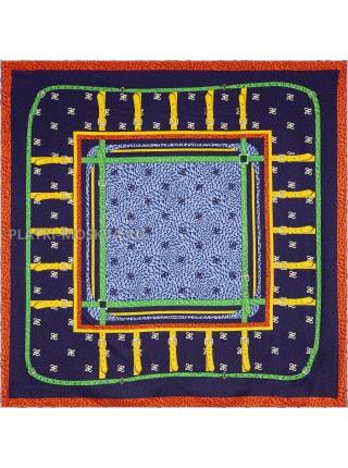 """Платок Fendi шелковый темно-синий """"Ремни"""" 1859-90"""