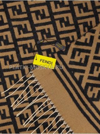 Палантин Fendi кашемировый черный с бежевым 2611