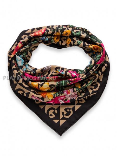 "Платок Gucci шелковый темно-бежевый ""Флора"" 1721-90"