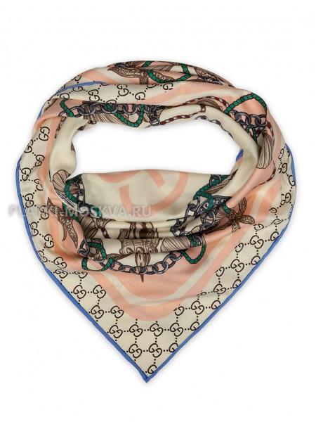 """Платок Gucci шелковый молочный с розовым """"Морской"""" 1864-90"""