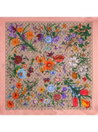 """Платок Gucci шелковый розовый """"Флора"""" 1523-90"""