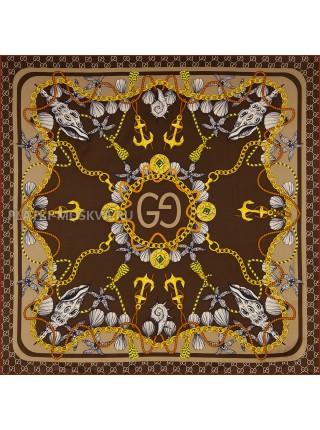 """Платок Gucci шелковый коричневый """"Морской"""" 1867-90"""