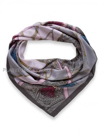 "Платок Hermes шелковый серый с розовым ""Ремни"" 3503"