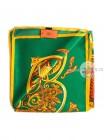 Платок Hermes шелковый зеленый с золотыми узорами 320-120