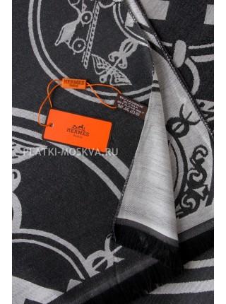 Палантин Hermes черный с белым 3040
