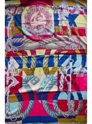 Платок Hermes шерстяной бежевый с синим 368