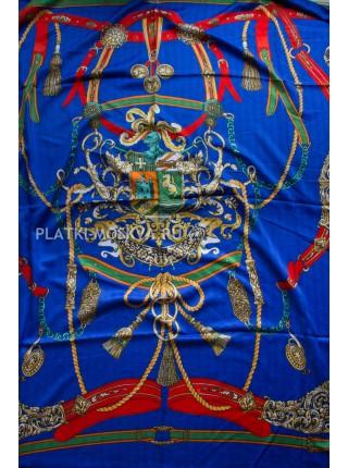 Платок Hermes шерстяной синий с зеленым 3900