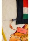 """Платок Hermes кашемировый красный с черным """"Лошадь в попоне"""" 3702"""