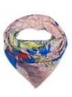 """Платок Hermes кашемировый сине-голубой с розовым """"Космография"""" 3723"""