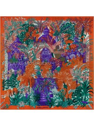 """Платок Hermes кашемировый красный """"Сад в Синтре"""" 3720"""