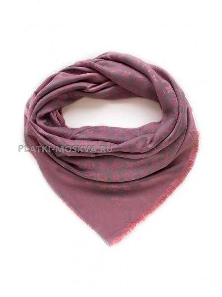 Платок брендовый серый с розовым 1061