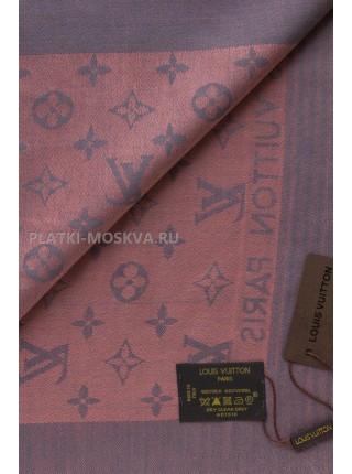 Платок брендовый темно-серый с розовым 1062