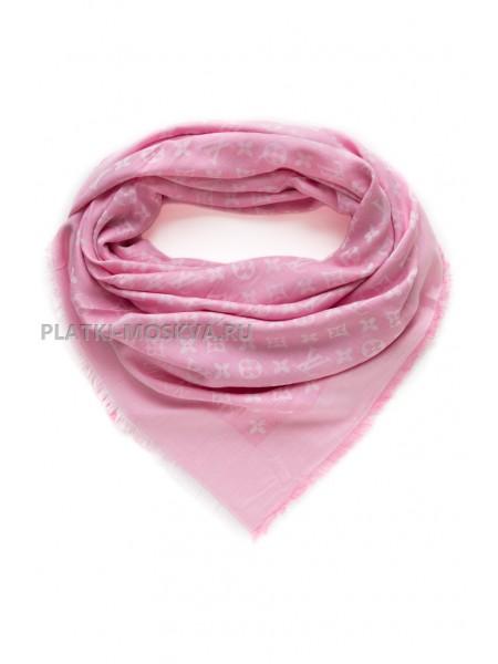 Платок брендовый розовый с белым 1063