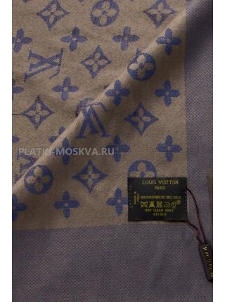 Платок брендовый синий с бежевым 1068
