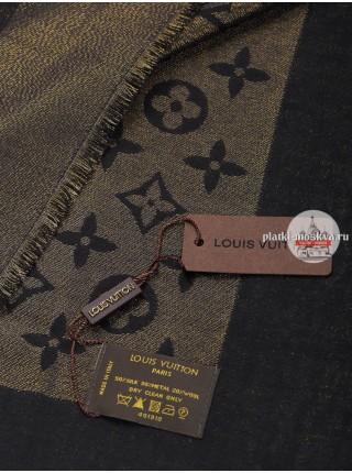 Платок брендовый черный с золотом 158