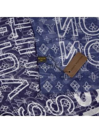 Палантин брендовый синий 4111