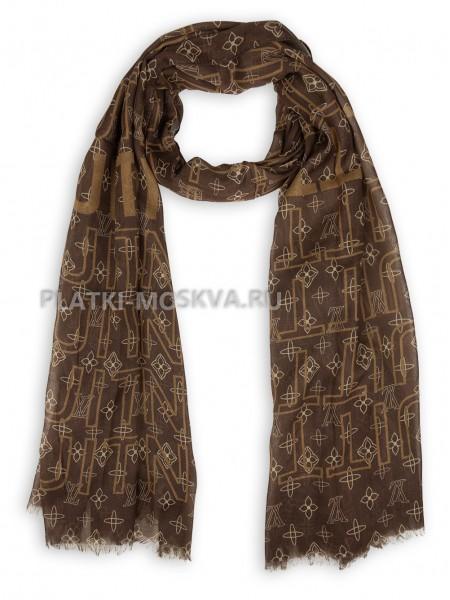 Палантин брендовый коричневый 4110