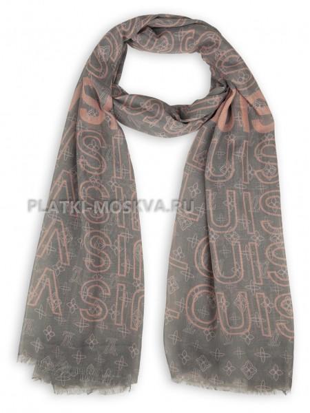 Палантин брендовый серый с розовым 4113