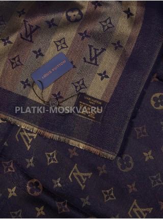 "Платок брендовый темно-синий с золотом ""Хамелеон"" 1082-100"