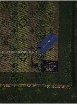 """Платок брендовый темно-зеленый с золотом """"Хамелеон"""" 1089-100"""