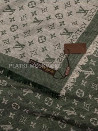Платок брендовый зеленый с белым 1096