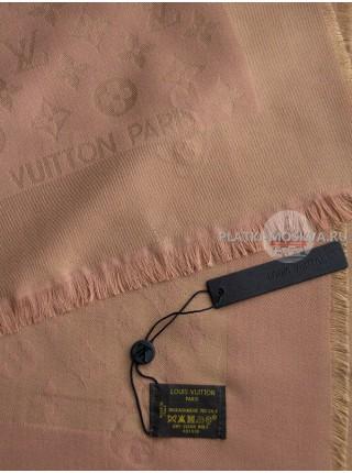Платок брендовый персиковый с золотом 172