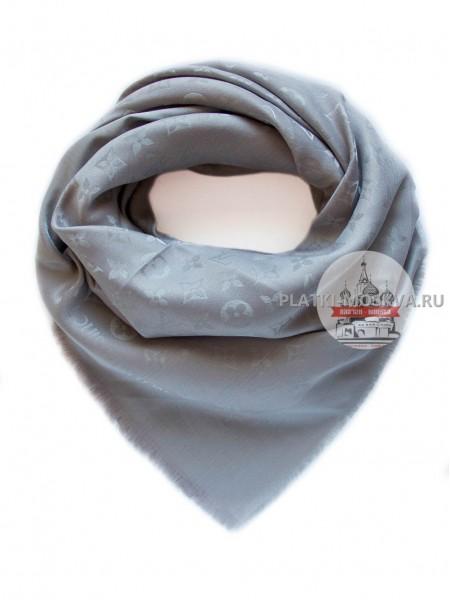 Платок брендовый темно-серый с серебром 188