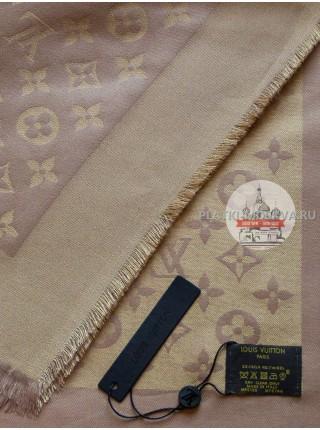 Платок брендовый нежно-коричневый с золотом 190