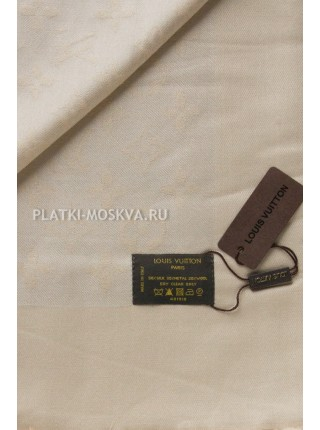 Платок брендовый бежевый с серебром 101-1