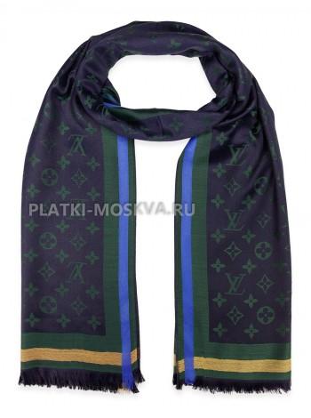 Палантин брендовый темно-синий с зеленым 1038