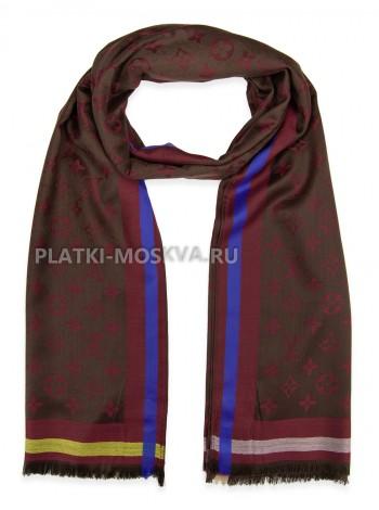 Палантин брендовый коричневый с бордовым 1039