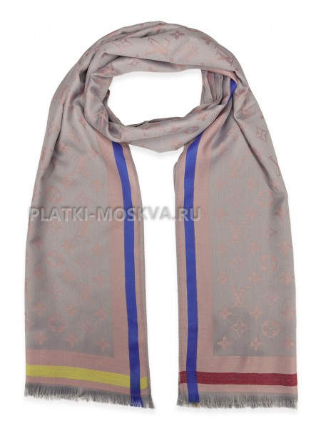 Палантин брендовый серый с розовым 1040