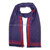 Палантин брендовый темно-синий с фиолетовым 1041