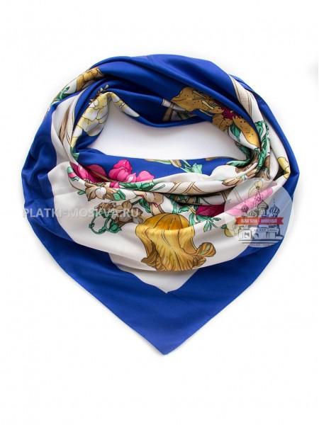 """Платок брендовый шелковый синий """"Bouquet"""" 391"""