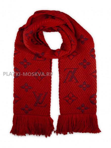 Шарф брендовый Logomania Shine красный 1050-1