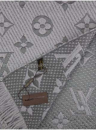 Шарф брендовый Logomania Shine светло-серый 1053-2